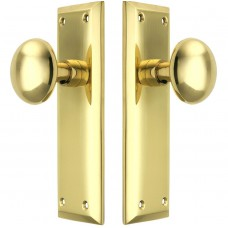 Brass Door  Handle Plate [NY Door Set With No Keyhole And Classic Round Knobs]