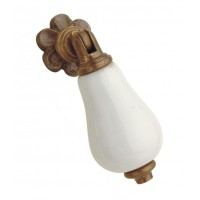 Brass & porcelain Knob with drop pull [GMA-2596]
